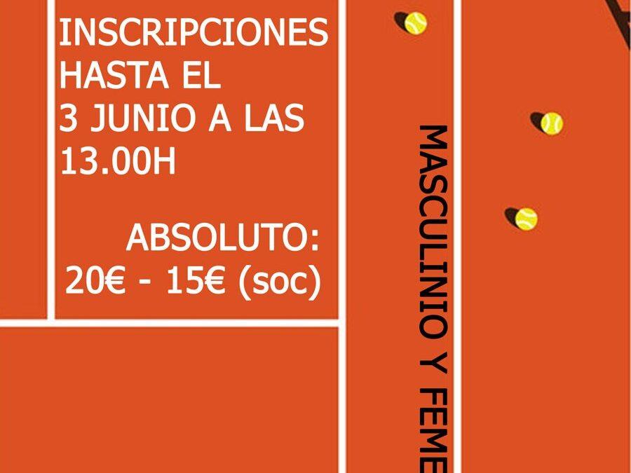 Torneo de Tenis Absoluto 4,5 y 6 de junio